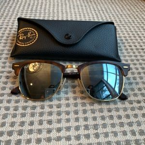 silver mirrored club master ray bans